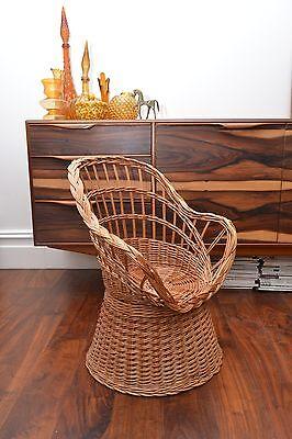 Stunning Mid Century Vintage Childrens Basket Weave Rattan Chair 2