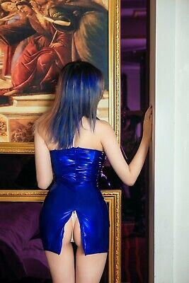 Damen Latex Wetlook Reißverschluss offen Kleid Minikleid Mini Dress Partykleid 9