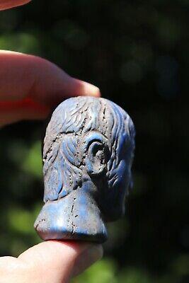 Head of the Roman Emperor, carved lapis lazuli stone, 100 BC-100 AD 3