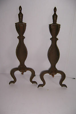 Vintage Brass Look Cast Iron Fireplace Andirons 5