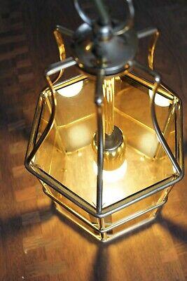 Swedish Rare ceiling vintage brass  faceted smoke glass VINTAGE  LAMP Mark Slöjd 9