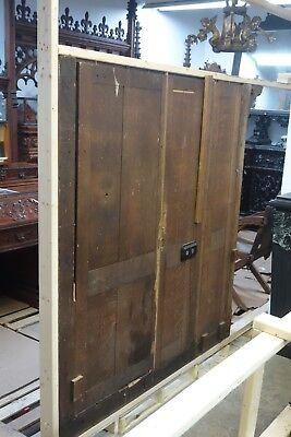 19C English Gothic Carved Tiger Oak Church Organ Wall Door&Original Hardware 8