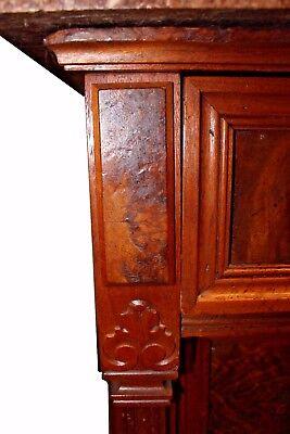 Antique American Victorian Eastlake Walnut & Rose Marble-Top Dresser 10