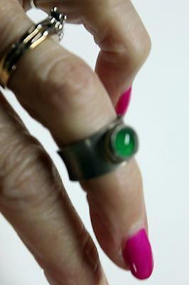 Signed Jorgen Jensen Denmark Modernist Pewter Ring w. Green Stone Adjustable