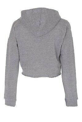 New Kids Girls BRKLYN Front Ripped Crop Hoodie Sweatshirt Pullover Top 5
