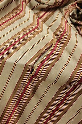 Antique French ticking linen cotton mix woven herringbone weave Vibrant c1880 4