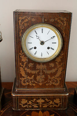 Gorgeous Antique 19th c French Marquetry inlaid Charles X wood clock set urns 3