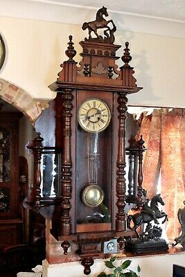 Antique Extra Rare German 8-Day Striking Wall Clock with Side Mirrors, 19th C 2