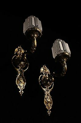 art deco sconces wall lights fixtures bronze handcrafted individually byartist 7