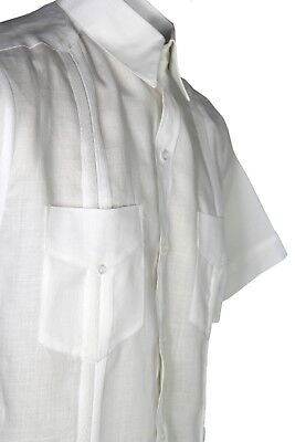 Boys White Guayabera Shirt 100/% Linen With Four Pockets New Sizes 4 to 20