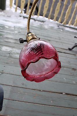 Antique Victorian Ceiling Ornate Light Fixture   Cranberry Ruffle Swirl Shade 8