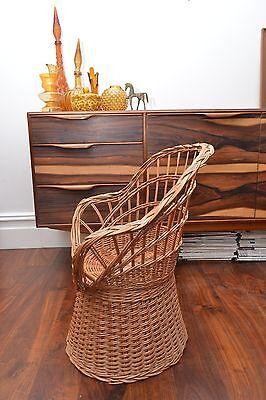Stunning Mid Century Vintage Childrens Basket Weave Rattan Chair 4