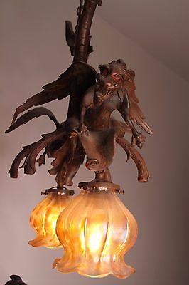 19C French Bronze Winged Griffin/Gargoyle/Dragon Chandelier 10