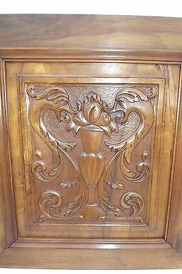 French Antique Pair Carved Wood Cupboard Door Panel Gothic Chimera Griffins 3