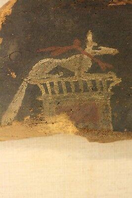 Antique Ancient Egyptian Painted Saite Period 800-400 B.C. Wooden Fragment 4