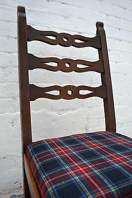 6 Antique rustic farmhouse high back upholstered dining chairs in tartan wool 2