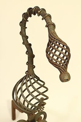 Antique Tiffany Roycroft Style Twisted Spiral Wrought Iron Fireplace Andirons 9