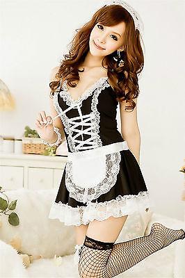 Costume Completino Cameriera Maid Serva Sexy Cosplay Lingerie Con Calze a Rete 5