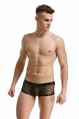 Slip Boxer Transparent Noir Filet Sexy Homme Viril Thong Man Underwear Mboer401 7