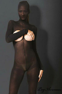 Sexy Bodystocking Integrale Cappuccio Nero Coprente Cavallo Aperto Seno Nudo Os 2