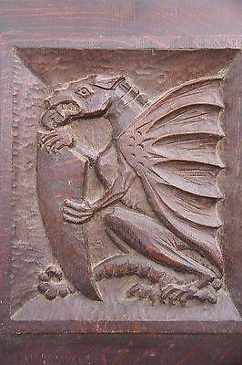 19C English Carved Oak Welsh Winged Dragon Griffin/Gargoyle/Shield 4