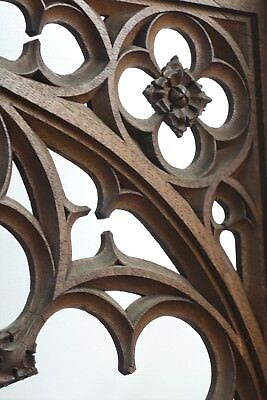 19C English Gothic Spire Curved/Carved Tiger Oak Church Organ Surround 2