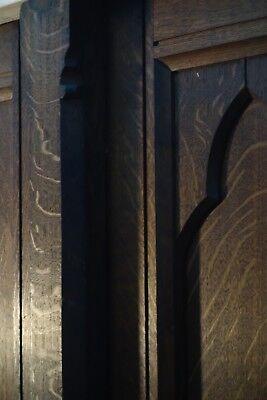 19C English Gothic Carved Tiger Oak Church Organ Wall Door&Original Hardware 3