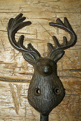 Cast Iron DEER Towel Coat Hooks Hat Hook Key Rack Ranch Hunting Camp Decor ELK