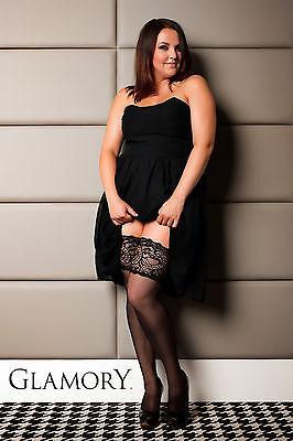 Glamory Couture 20 schwarze halterlose Naht-Strümpfe große Größe Plus Size 50315
