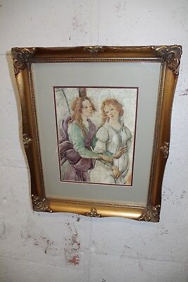Vintage Gold Gilt Ornate Wood Picture Frame & Print ( Photo Painting ) 3