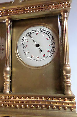 Antique French Double Carriage Clock Barometer / Alarm  / Compass Set 5