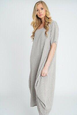 New Ladies Lagenlook Italian Quirky Striped Linen 2 Pocket Scoop Neck Long Dress 6