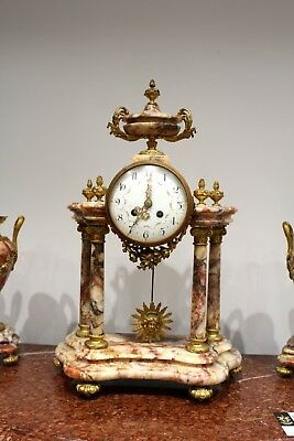 A Beautiful French Marble And Ormolu Mantle Clock Set 3