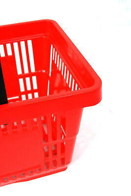 Pack of 20 x 2 Handle Red Plastic Shopping Basket Retail Supermarket Use 2