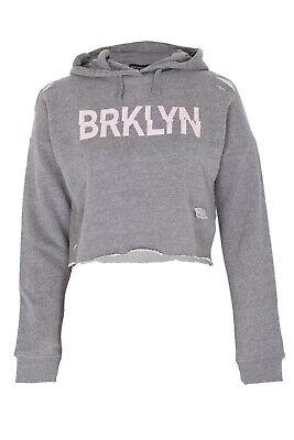 New Kids Girls BRKLYN Front Ripped Crop Hoodie Sweatshirt Pullover Top 4
