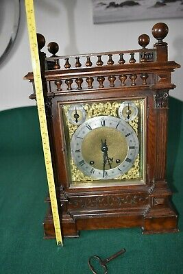 Lovely Antique Winterhalder & Hofmeier Bracket Clock [Oak Cased] 2