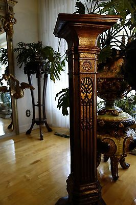 19C English Gothic Carved Oak Gilded Polychrome Pedestal 12