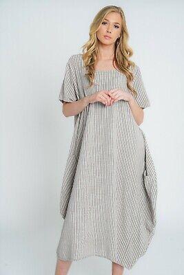 New Ladies Lagenlook Italian Quirky Striped Linen 2 Pocket Scoop Neck Long Dress 3