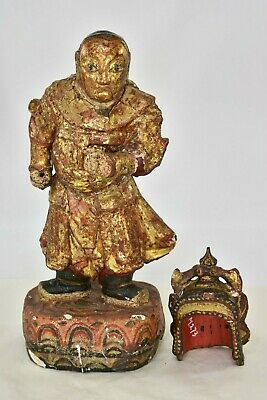 Antique Chinese Red & Gilt / Gilded Wooden Carved Statue, 19th c 2