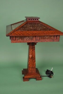 Mission Arts and Crafts Style Quarter Sawn Oak Tall Table Lamp Mica Shade Panels 4