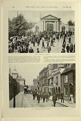 1898 Print Portsmouth Dockyard Admiralty House Main Gate Unicorn Marlborough 2