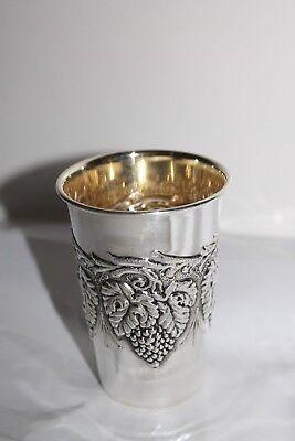 Traubenbecher Wein Silberbecher Sterling Silber 925 Silber innen vergoldet Neu 3