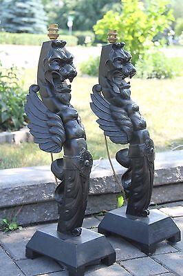 19C French Fantasy Gothic Carved Oak Lamps Griffin/Gargoyle/Dragon 3