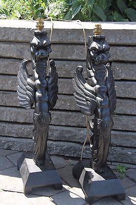 19C French Fantasy Gothic Carved Oak Lamps Griffin/Gargoyle/Dragon 2