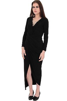 Ladies V Neck Padded Cups Sequin Side Slit Split Boobtube Long Maxi Dress