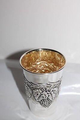 Traubenbecher Wein Silberbecher Sterling Silber 925 Silber innen vergoldet Neu 2
