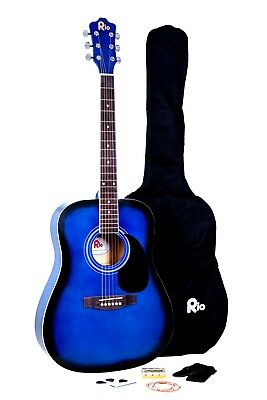 Rio Beginner Adult Student Full Size Acoustic Guitar Pack Starter Package Outfit 4