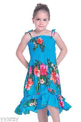 NWT Aloha Beach Hawaii Cruise Luau Elastic Ruffles Hibiscus Girl Dress Yellow