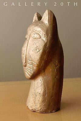 Magnificent Egyptian Bastet Polychromed Clay Sculpture! Cat God Feline Vtg 7