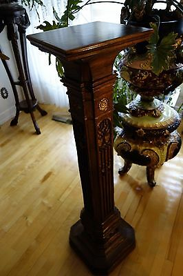 19C English Gothic Carved Oak Gilded Polychrome Pedestal 8
